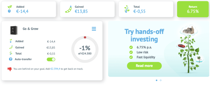 Go & Grow is much like a high interest savings account, as you just deposit money into the account and Bondora invests the money in a portfolio which gives you a flat rate return of 6,75%. You can withdraw the money anytime you want (€1 withdrawal fee) which is very convenient, compared to the less liquid way of buying and selling loans.